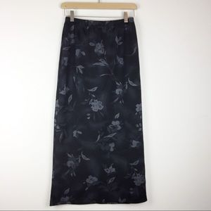 Vintage 90s Y2K black floral midi pencil skirt